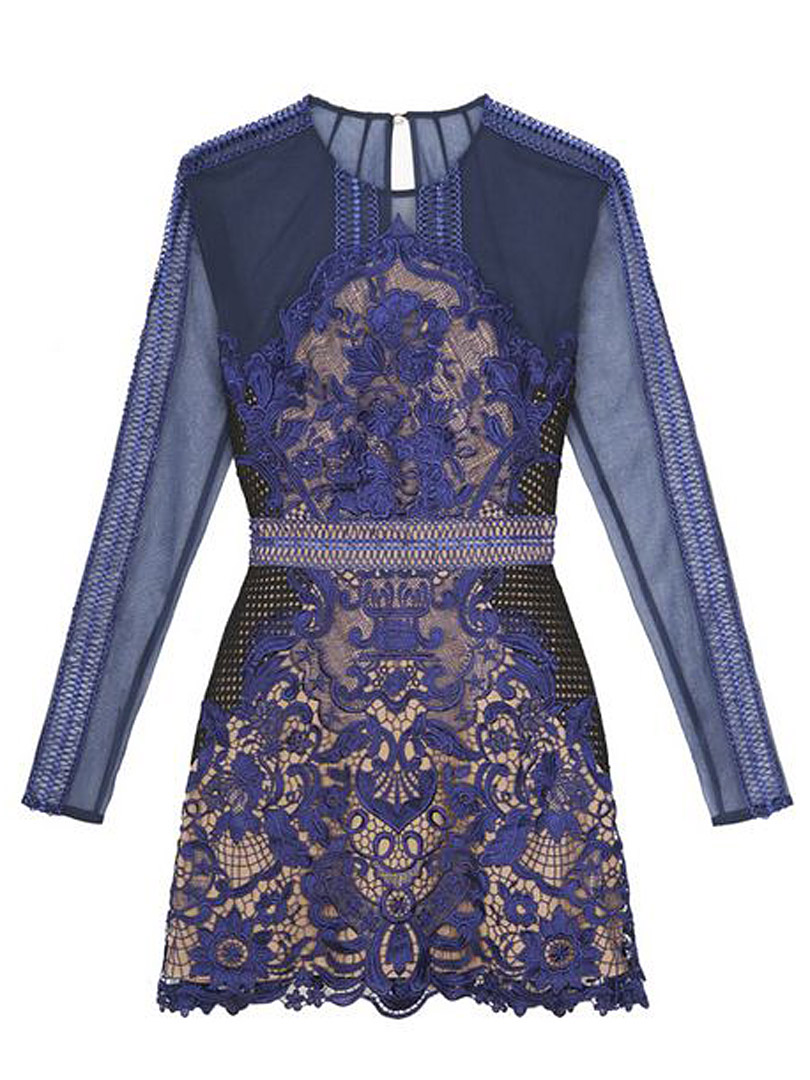 Blue embroidery floral lace dress choies