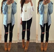 shoes,jacket,shirt,pants,jeans,blouse,top,jewels,white,t-shirt,long sleeves,chic,half sleeve,blue jacket,denim shirt,brown boots,booties,high heels,high heeled boots,necklace,chicfashion,skirt,coat,white blouse