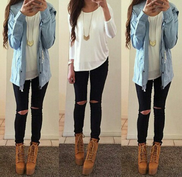shoes jacket shirt pants jeans blouse top jewels white t-shirt long sleeves chic half sleeve blue jacket denim shirt brown boots booties high heels high heeled boots necklace chicfashion skirt coat white blouse