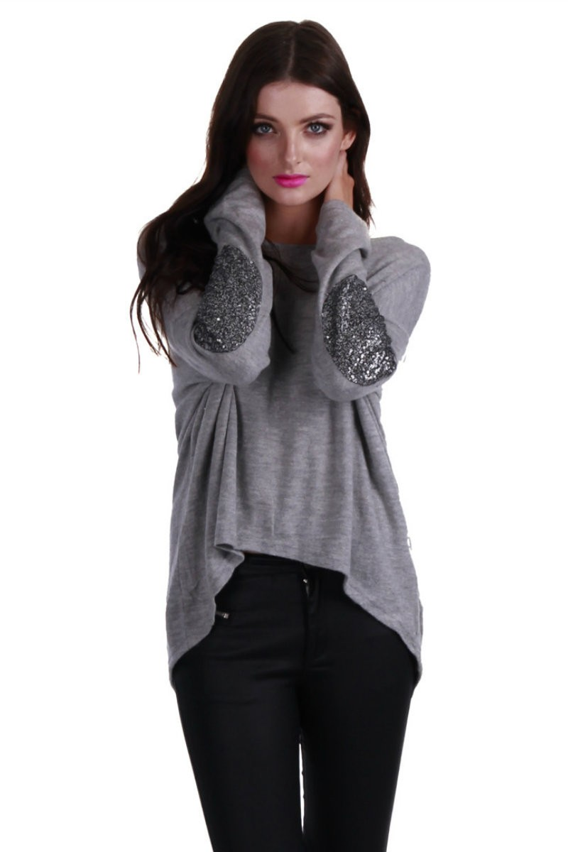 Gray sweater with sequin elbow patches