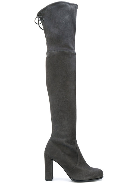 STUART WEITZMAN women over the knee leather suede grey shoes