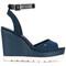 Tommy hilfiger - wedged sandals - women - tactel/rubber - 36, blue, tactel/rubber