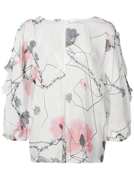 blouse women leather white silk top