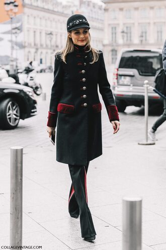 coat tumblr fashion week 2017 fashion week street style streetstyle black coat hat black hat pants black pants side stripe pants military style all black everything olivia palermo