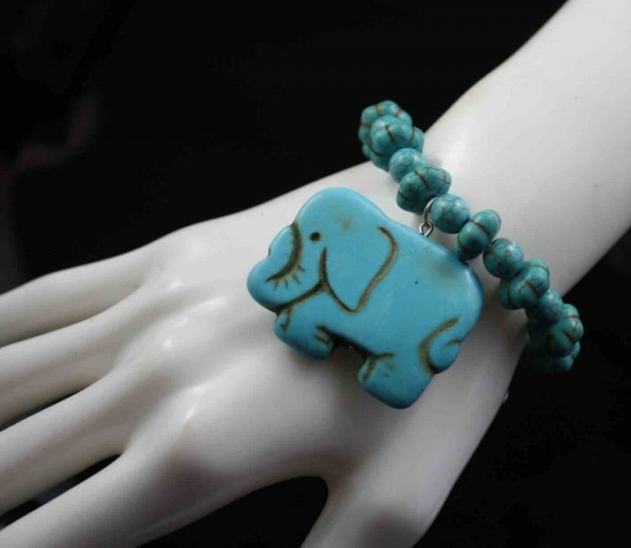 21a3 14 howlite turquoise stone elephant adjustable bangle bracelet lhf130429