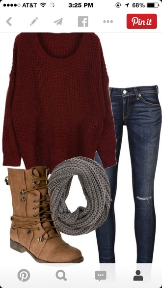 burgundy sweater jeans scarf