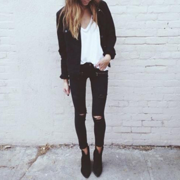 shoes black boots boots booties jeans black zippers ripped black suede fashionista autumn boots
