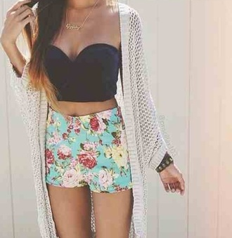 shorts sweater blouse jewels black crop top cardigan white cardigan floral shorts top tumblr outfit tumblr sweater