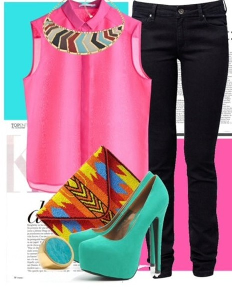 shoes bag aztec aztec style necklace pink turquoise jeans color block spring trends 2014