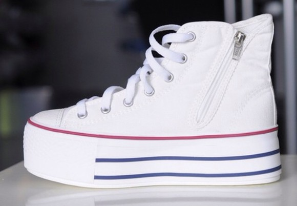 zip converse shoes platform shoes flatforms plateforme platform white shoes, shoes, heels, indie, fashion,