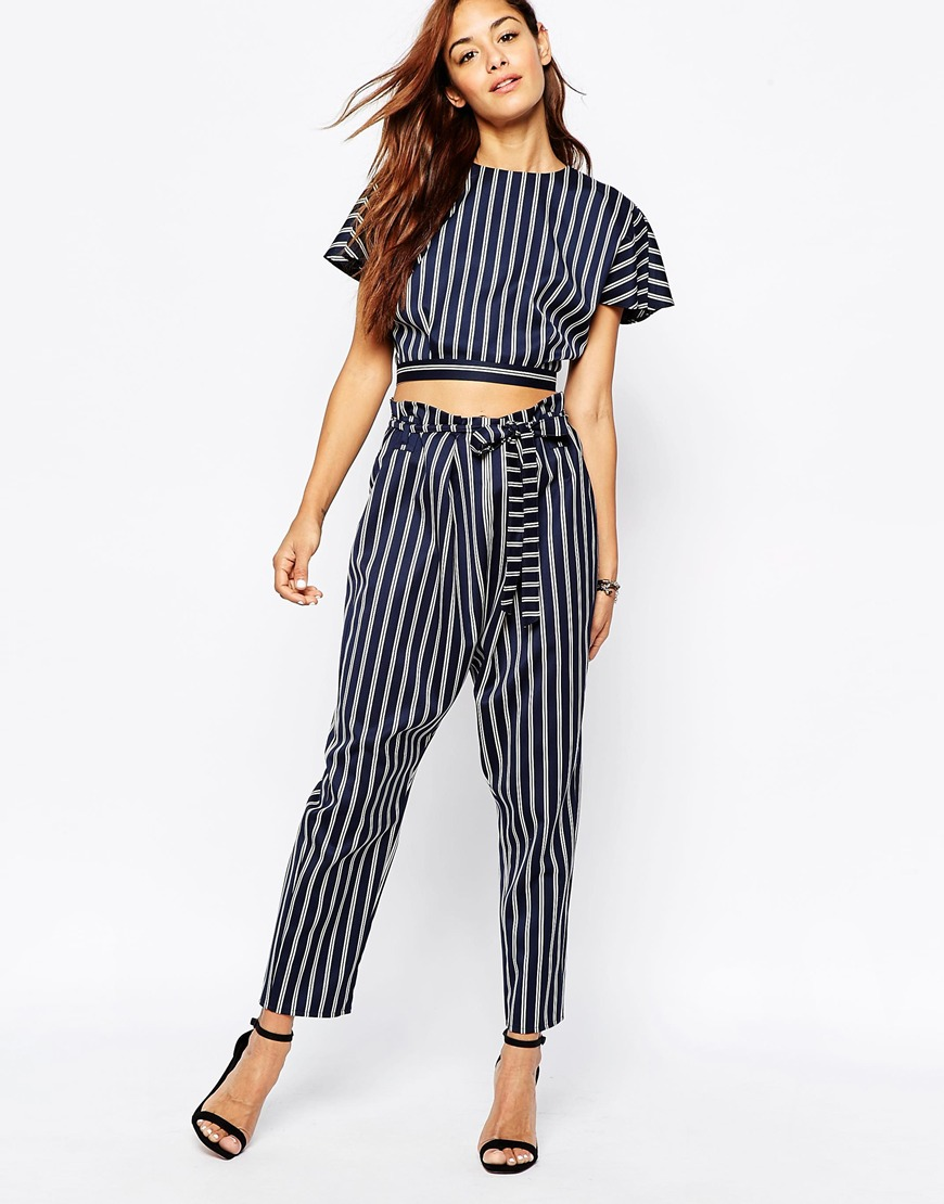 Paper bag waist pants pattern - Asos Peg Trousers In Stripe With Paper Bag Waist At Asos Com