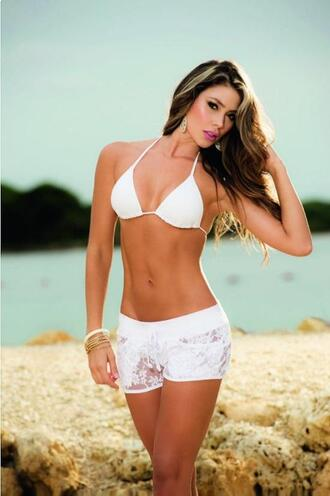 shorts white shorts lace shorts beach summer outfits summer pool party bikiniluxe sexy shorts