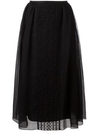 skirt embroidered women cotton black