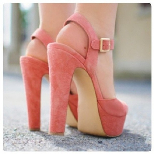 Shoes: pink heels high heels pink high heels wedges fashion