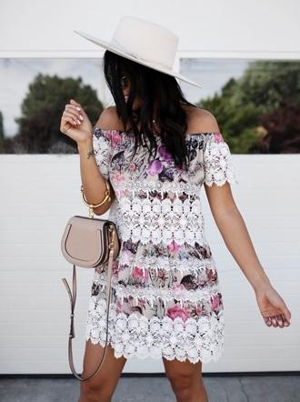 dress tumblr mini dress off the shoulder off the shoulder dress hat sun hat bag handbag