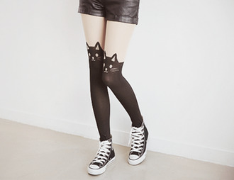 tights cats converse leather shorts shoes