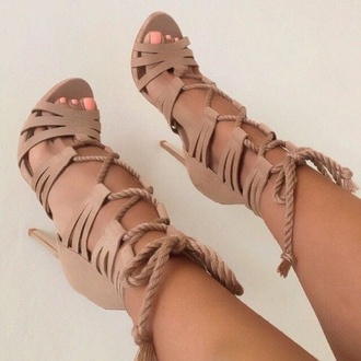 shoes heels tan summer style high heels beige shoes lace up fashion nude pumps nail polish beige wedges nails leather
