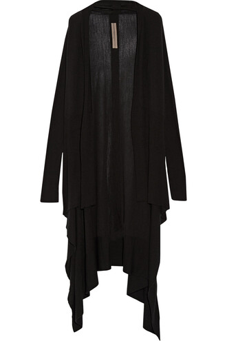 cardigan draped wool black sweater