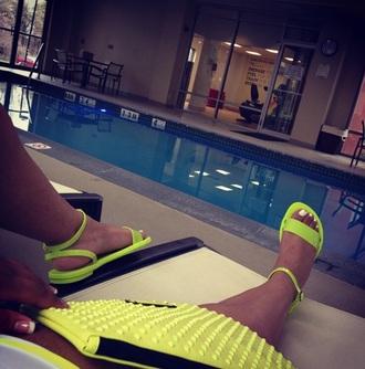 shoes neon sandals flat sandals neon