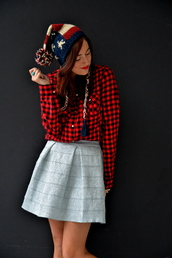 my style pill,blogger,skirt,american flag,pom pom beanie,grey skirt,flannel shirt,hat,shirt,jewels