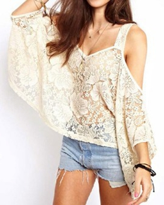 blouse choies lace off-shouler top v neck