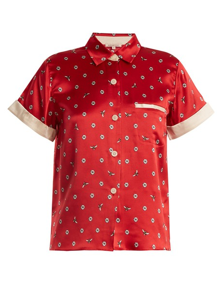 MORGAN LANE top daisy print silk red
