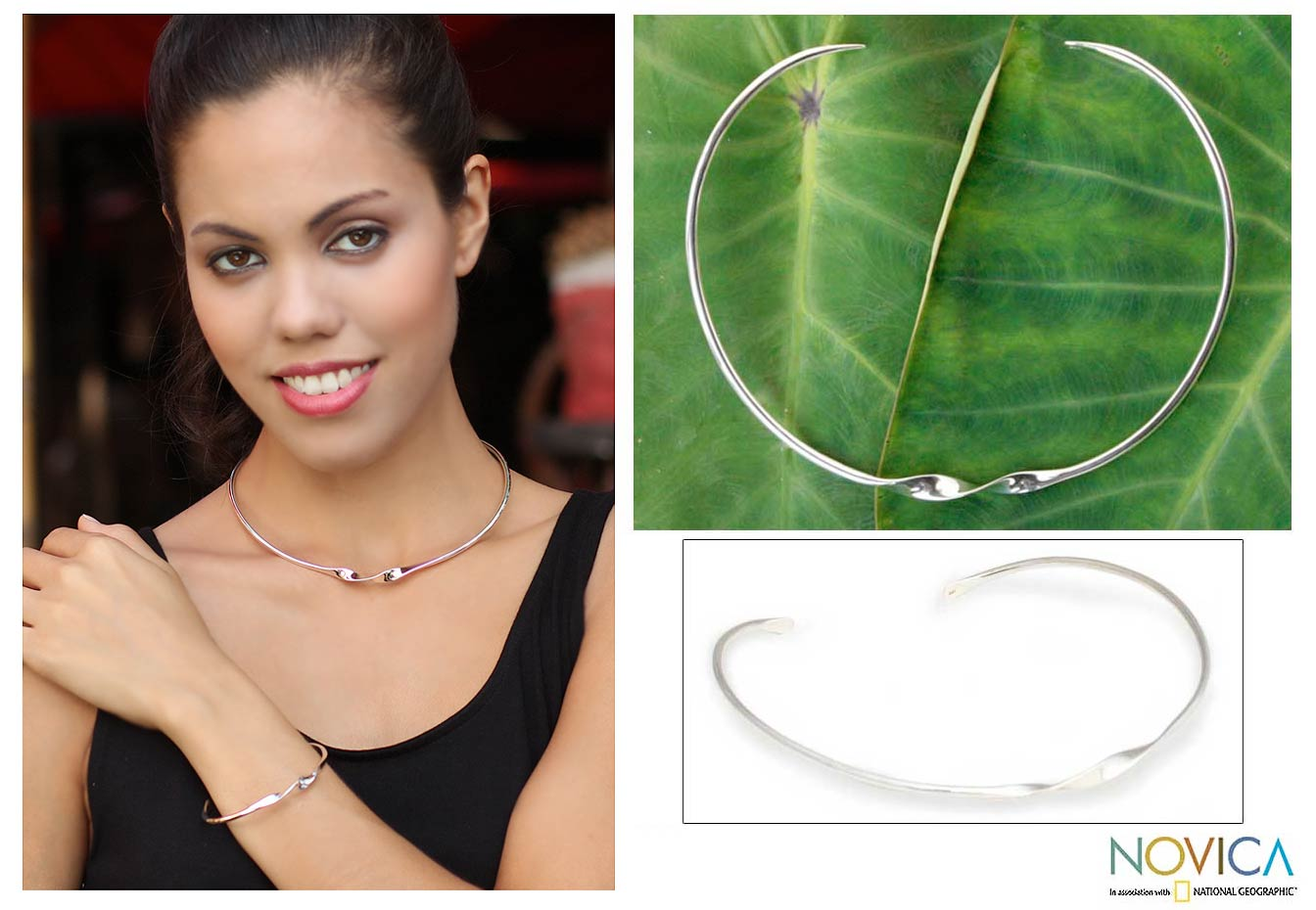 Sterling silver choker - Ribbon Twist | NOVICA