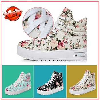 Floral High Designs Women Platform Canvas Sneaker Lace Up Trifle Shoes,Black Beige Blue 8806-in Women's Fashion Sneakers from Shoes on Aliexpress.com