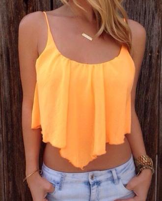 shirt orange crop tops