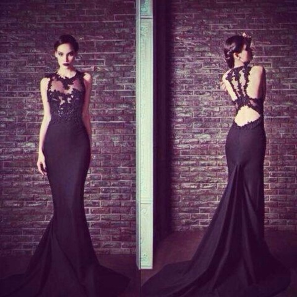 dress black lace prom dress maxi prom maxi dress long night