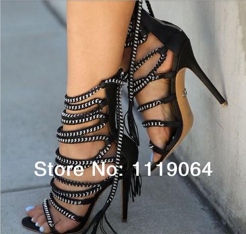 Free Shipping Designer women brand high heel summer boots spike rope criss cross sandals ankle wrap dress shoe gladiator sandals-in Sandals from Shoes on Aliexpress.com