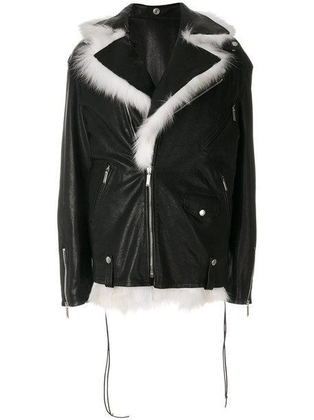 Saint Laurent jacket biker jacket oversized fur fox women black