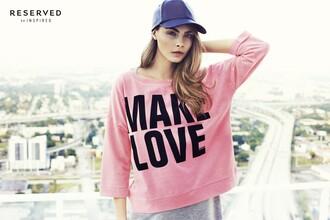 cara delevingne cap make love pink sweater oversized sweater