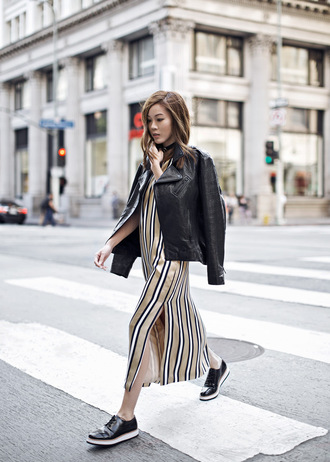 tsangtastic blogger platform shoes black leather jacket slit dress slide slit stripes striped dress beige dress