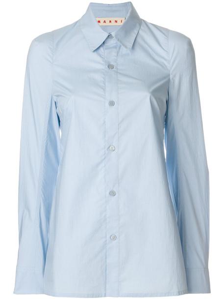 Marni - classic fitted shirt - women - Cotton - 44, Blue, Cotton