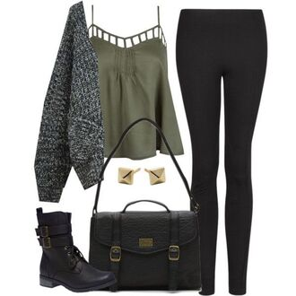 shirt clothes edgy olive green cardigan fall outfits winter outfits handbag combat boots boots cut-out black green