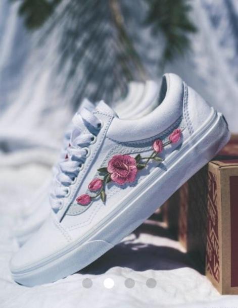 7d7aa454a126 shoes vans white roses patch white vans vans with roses white vans with  roses
