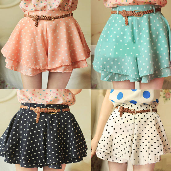 Free shipping,Four Color Polka Dot Skirts 2013 Shorts With Belt from Goodbuye on Storenvy