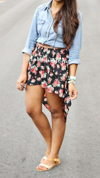 floral high-low summer skirt