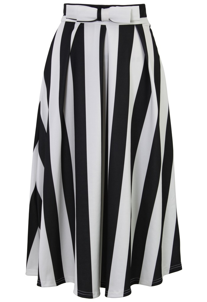 Bowknot Contrast Striped A-Line Midi Skirt - Retro, Indie and Unique Fashion