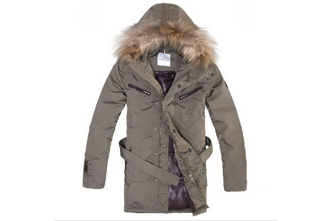 Moncler Men Fur Long Down Coat Khaki