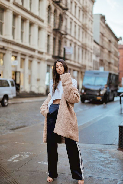 coat tumblr camel camel coat teddy bear coat fuzzy coat top white top black crop top pants side stripe pants black pants wide-leg pants