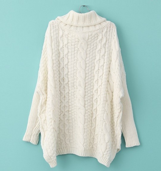 EAST KNITTING S 025 2013 Women fashion Winter White Long Sleeve Turtleneck Chunky Cable Knit Sweater FREE SHIPPING-in Pullovers from Apparel & Accessories on Aliexpress.com