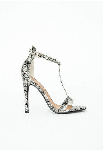 Missguided - Jasmine T bar Heeled Sandals Snakeskin