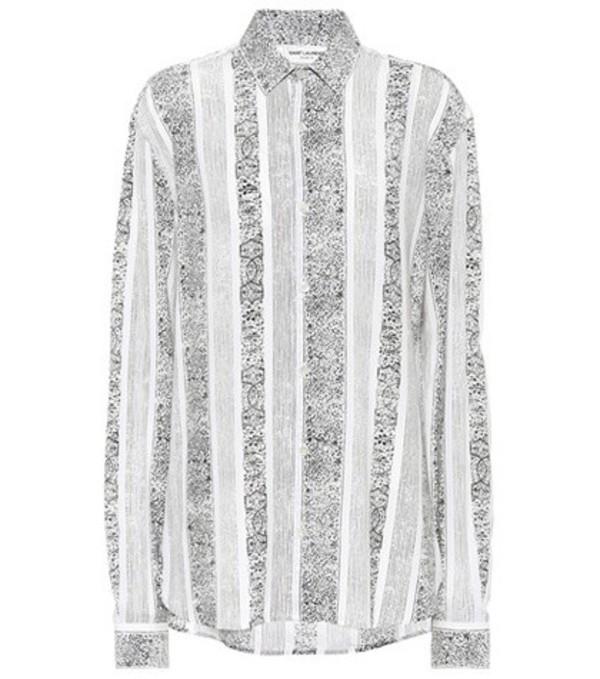 Saint Laurent Printed crêpe blouse in black