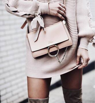 bag tumblr nude bag chloe chloe bag knitwear knitted dress sweater dress nude dress mini knit dress ring knuckle ring gold ring jewels jewelry all nude everything nude