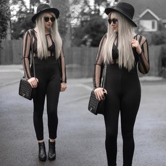 sammi jackson blogger sunglasses jumpsuit bag shoes chanel bag black jumpsuit ankle boots all black everything