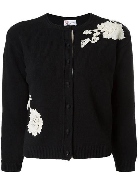 Red Valentino - floral patch cardigan - women - Virgin Wool - M, Black, Virgin Wool