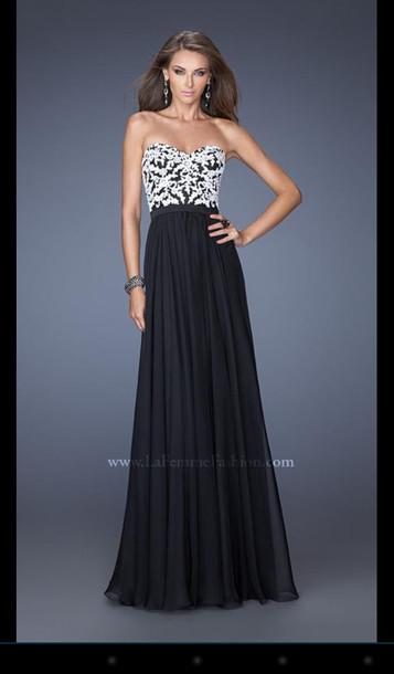 Black and white long formal dresses