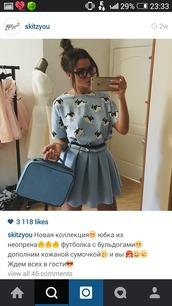skirt,blue skirt,neoprene,t-shirt